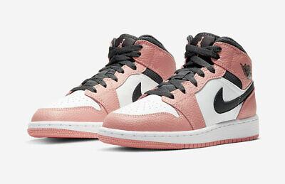 Nike Air Jordan 1 Mid Pink Quartz 555112-603 GS Womens Size 4Y-7Y | eBay