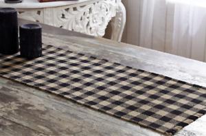 "BURLAP BLACK CHECKED TABLE RUNNER 13X48/""  COTTON WOVEN INTO BURLAP"