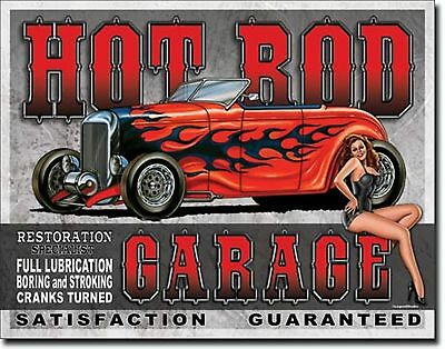 Hot Rod Garage Pin Up Coupe Metal Sign Tin New Vintage Style USA #1626