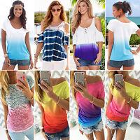 Damen Ombre Kurzarm Bluse Sommer Freizeit T-Shirt Hemd Oberteil Tops Shirts S-XL