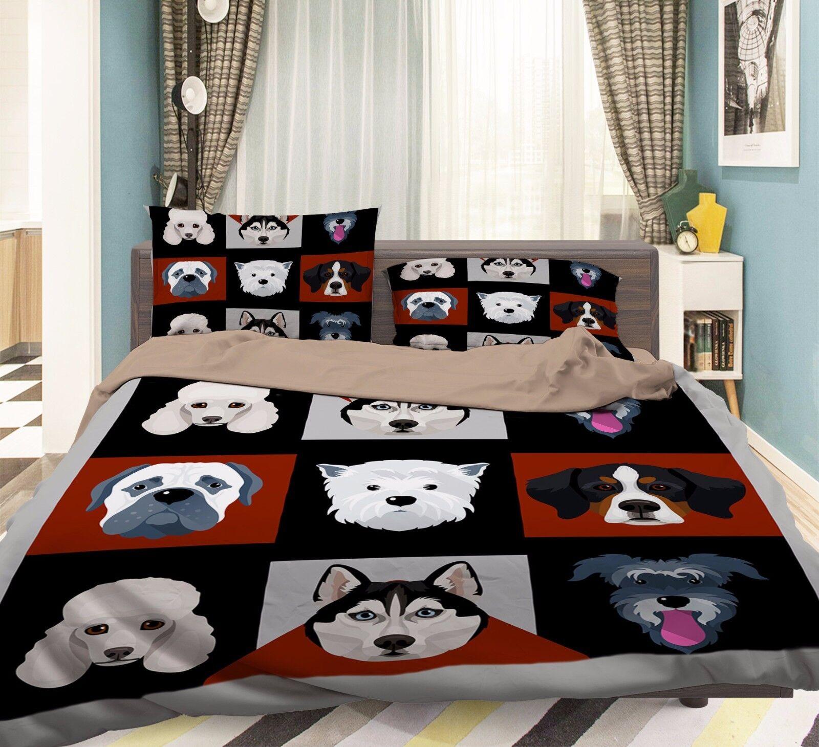 3D animali per cani 906 Federe Letto Trapunta Set Copripiumino Singolo QUEEN UK Estate