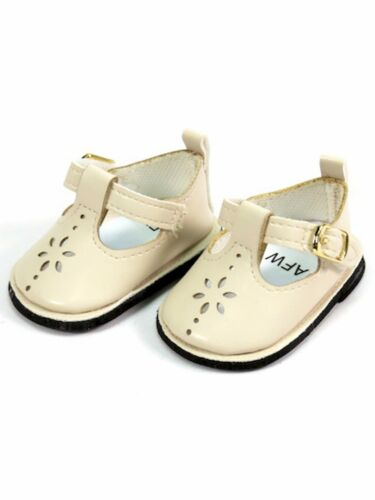 """Ivory Cream Flower Mary Janes Dress Shoes fit 18/"""" American Girl Size Doll"""