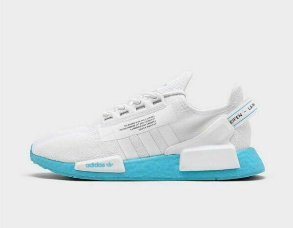 Size 9 - adidas NMD R1 V2 White Solar Blue for sale online | eBay