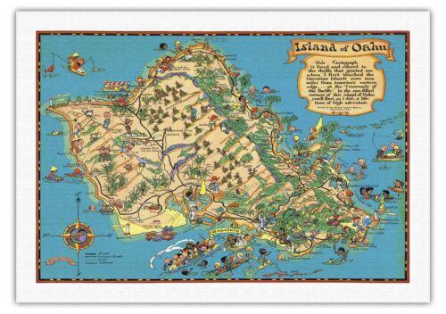 1941 Vintage Travel Poster Fine Art Print Hawaii USA Island of Oahu Map White