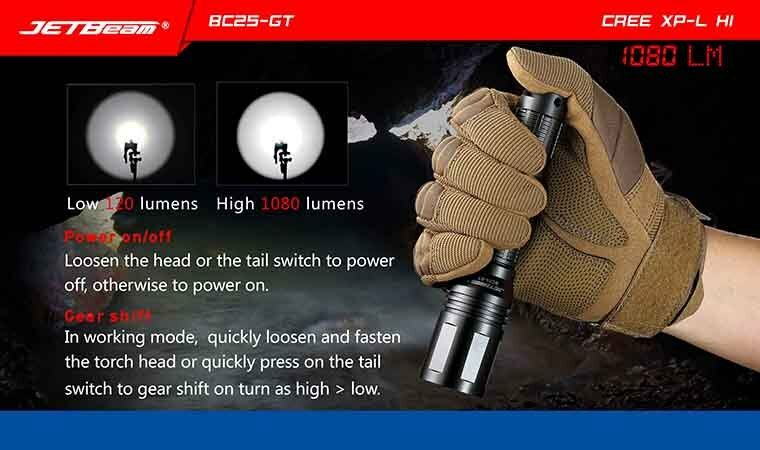 Nuevo Jetbeam BC25-GT XP-L USB carga cree XP-L BC25-GT Hi 1080 lúmenes LED linterna antorcha ef46ae