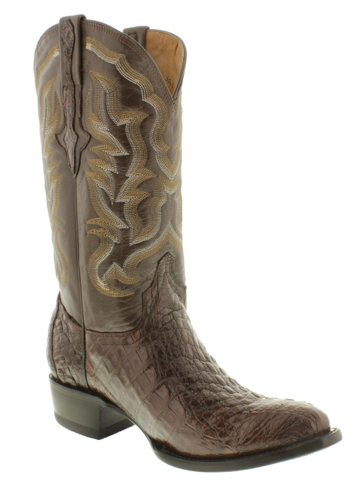 Brown All Cowboy Real Crocodile Skin Leather Cowboy All Boots Exotic Alligator Round Toe 4edf95
