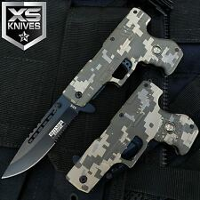 "8"" Spring Assisted Half Serrated Digital Camo Gun Knife W/ Pocket Clip"