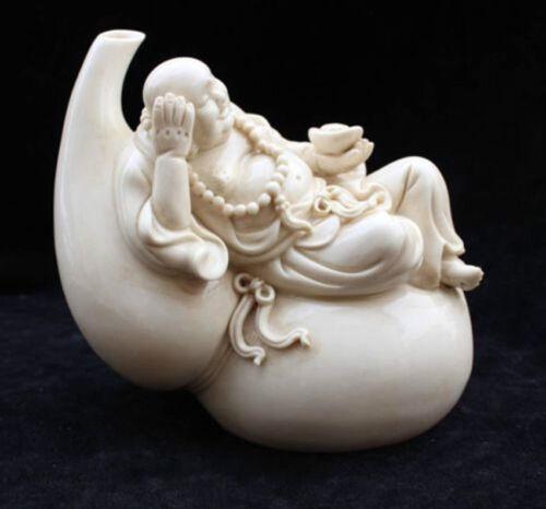 "8/""China Dehua Porcelain Happy Laugh Maitreya Buddha Hold Yuanbao cucurbit Statue"
