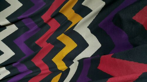 ZIG ZAG PRINTED BLACK  ARTIFICIAL SILK FABRIC-100/% POLYESTER-SOLD BY THE METER