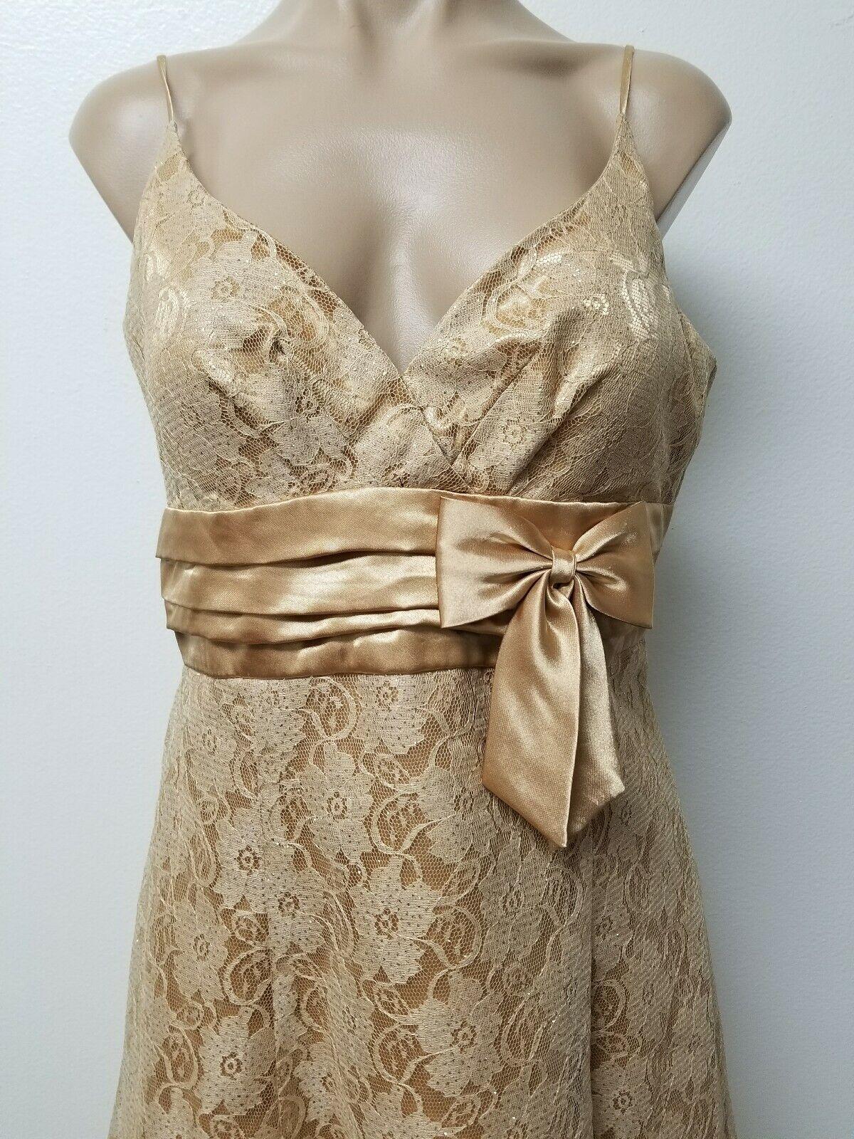 Vintage 90s Masquarade Spaghetti Strap gold lace Glitter Formal Prom Dress 11 12