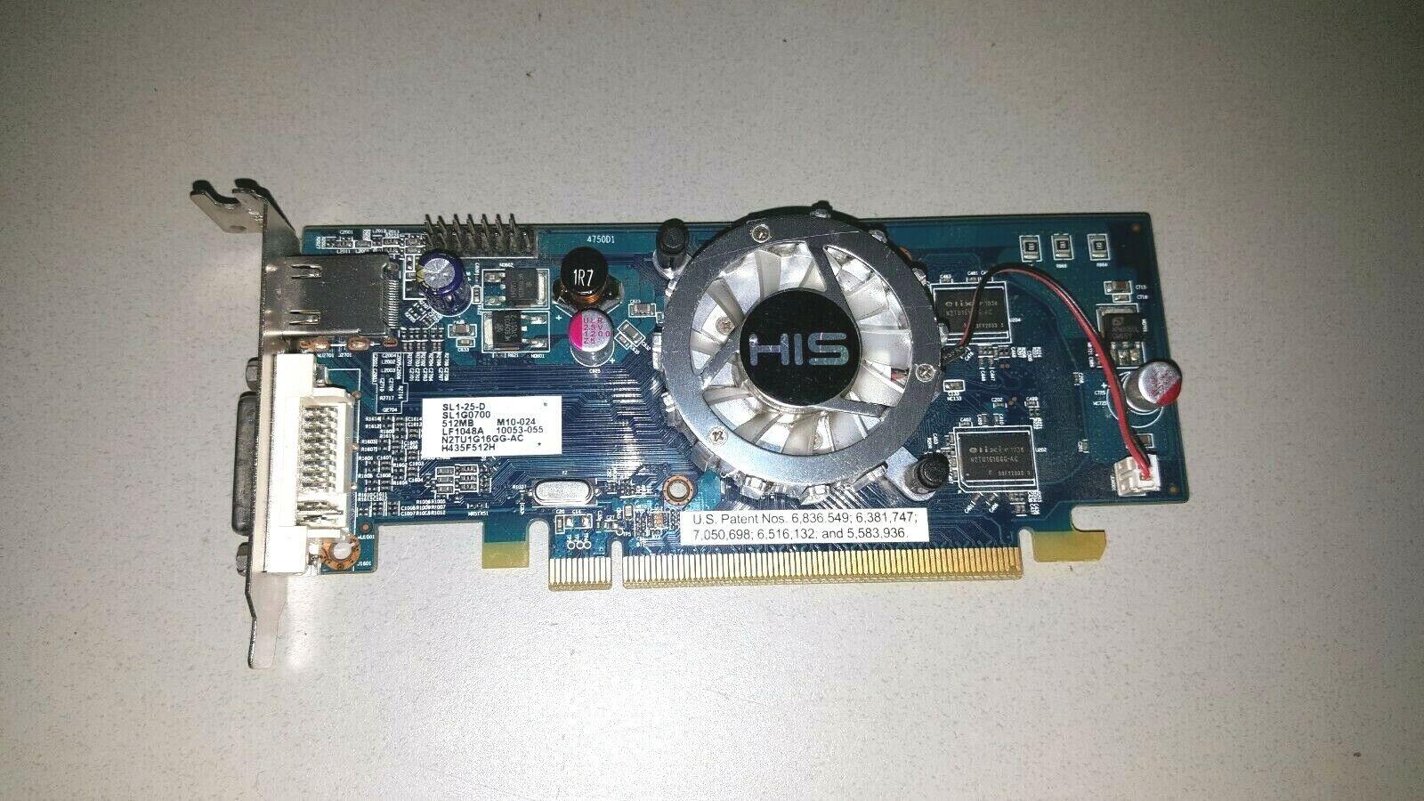 HIS HD 4350 SL1G0700 SL1-25-D HDMI DVI 512MB DDR2 PCIe PCI Express Low Profile