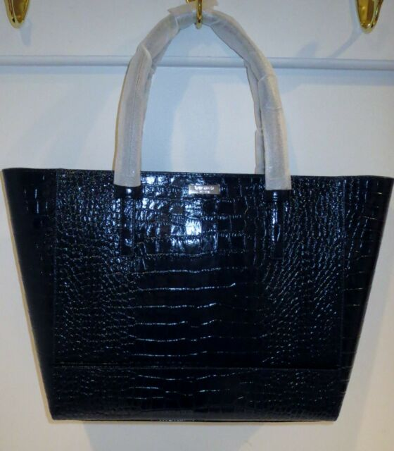 Kate Spade Riverside Street Bedford Offs Blue Croc Embossed Leather Tote