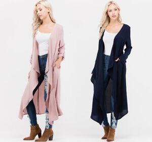 Women-039-s-Semi-Sheer-Flowy-Cardigan-Long-Sleeve-Maxi-Duster-Open-Front-Jacket