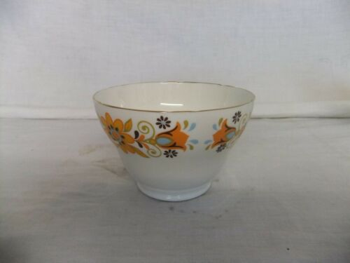 Borde Dorado C4 Porcelana China de hueso Inglaterra Patrón Floral Naranja 1970s 9A3B