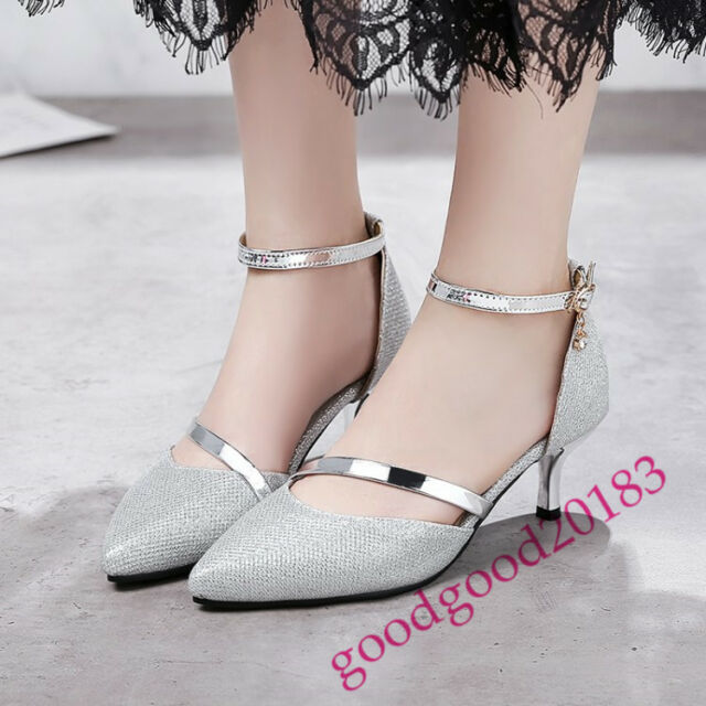 elegant women pointed toe kitten heel ankle strappy pumps party court shoes prom