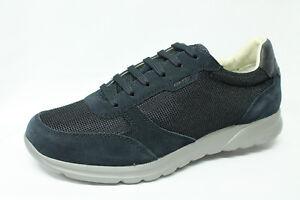 Scarpe Sneakers Geox U Damian C camoscio e tessuto blu