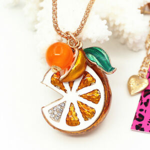 Betsey-Johnson-Enamel-Crystal-Orange-Fruit-Pendant-Sweater-Chain-Necklace-Gift