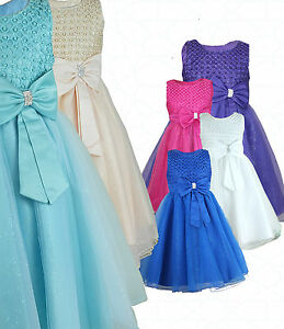 Girls-Bow-Diamante-Occasion-Wear-Dress-Flower-Girl-Party-Wedding-Formal-Dresses