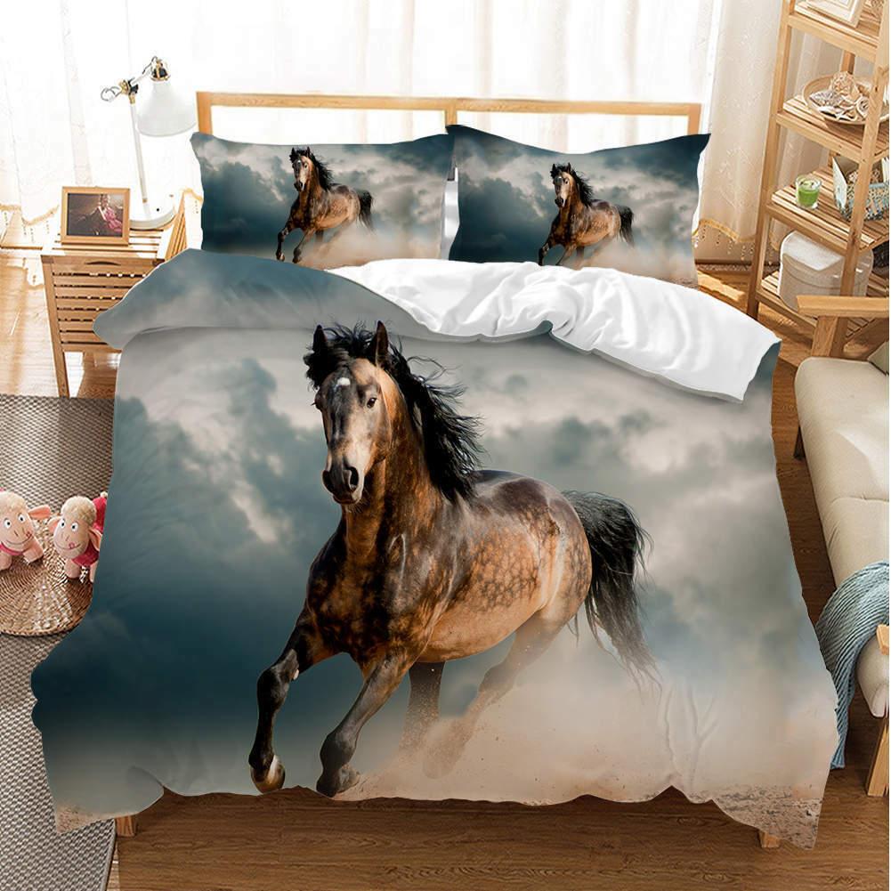 Great braun Horse 3D Quilt Duvet Will Startseite Set Single Double Königin König Drucken