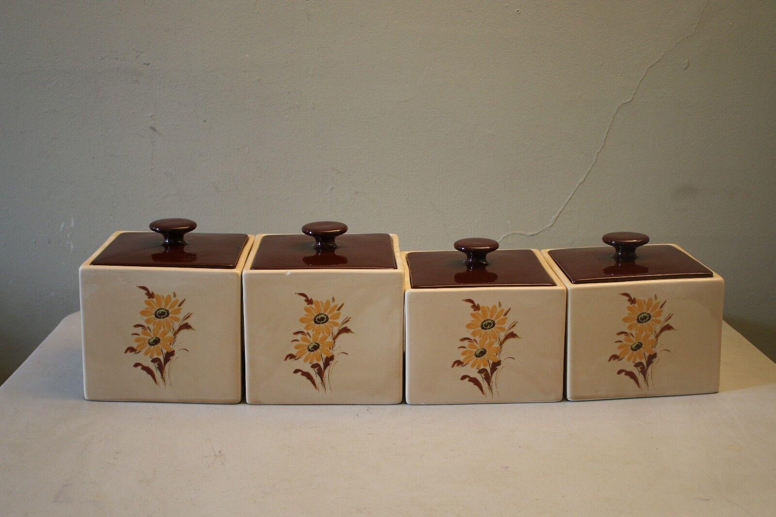 Vintage 4 Piece Ceramic Square Base Tan Canister Set W  Sunflowers