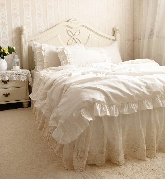 Luxury & Romantic Ivory Embroidery Lace Ruffle Cotton Duvet Cover Bedding Set