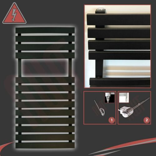 "/""Solar/"" Black Designer ELETTRICI-BINARIO CALORIFERO 300w 500mm W H x 788mm"