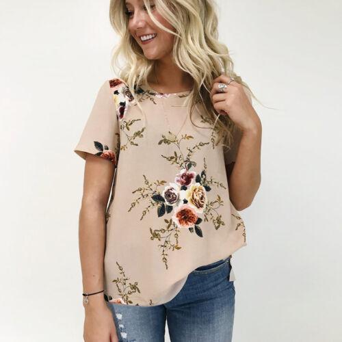 Damen Blumen Locker Freizei T-Shirt Kurzarmshirt Tunika Blusen Oberteil Top Hemd