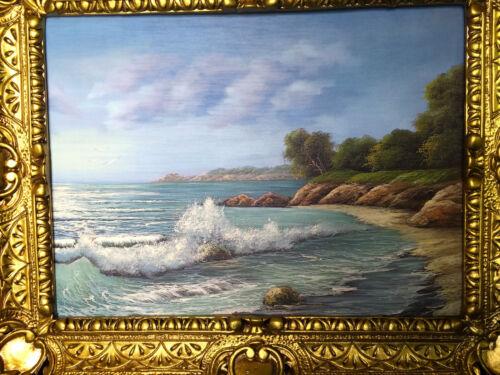 Bild Landschaft See// Meer Kunstdruck 57x47 Wandbild mit Rahmen Strand Wanddeko