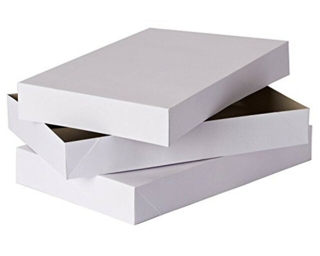 "2 DEEP ROBE BOXES ~ ALL OCCASION WHITE GIFT BOXES ~ 17/""L X 11/""W X 3-1//2/""H  ~ NEW"
