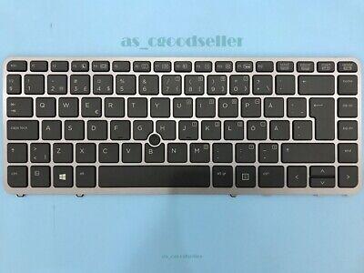 For HP EliteBook 840 G1 850 G1 Keyboard backlit Point Danish Dansk Silver Frame