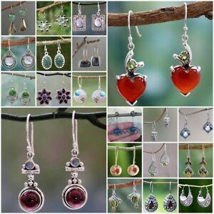 Argent-925-turquoise-grenat-Coeur-Oreille-Stud-Hook-Drop-Dangle-Ruby-Mariee-Boucles-d-039-oreilles