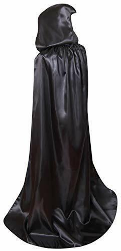 Txian Extra Long Hooded Satin Cloak Halloween Christmas Fancy Cape for Adults
