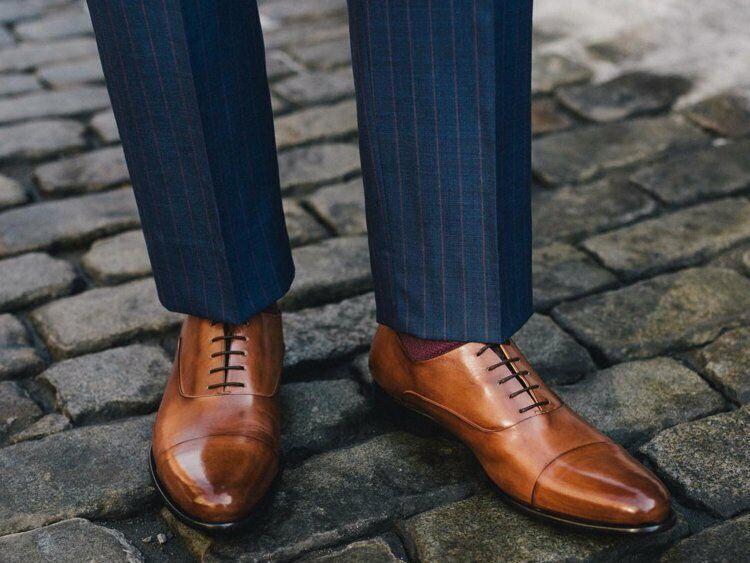 Para hombres Cuero Genuino Hecho a Mano Bronceado puntera Oxford Formal Boda Zapatos Con Cordones