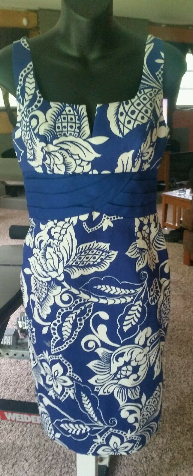 NWOT Mary Bays Victoria Royal bluee & & & White Cotton Stretch SheathDress Size 4 3824d8