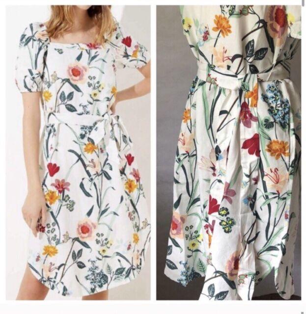 Women's LOFT Boho English Floral Pocket Summer Midi Dress size 8 NWT