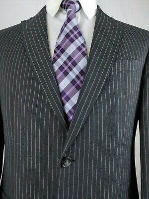 Austin Reed Gray Chalk Pin Stripe 2 Button Recent Wool Suit Mens 40r 32x29 Slim 23388491895 Ebay