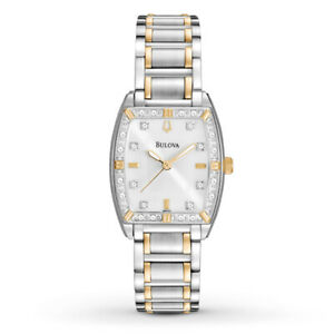 Bulova-Women-039-s-98R159-Quartz-Diamond-Accents-Two-Tone-Bracelet-24mm-Watch