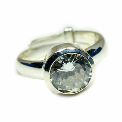 Sterling Silver Round Solitaire Crystal Floater Pendant Italian Charm Solid 925