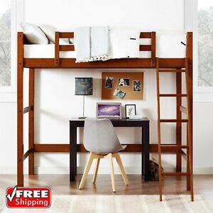 Twin Bunk Loft Bed Over Desk With Ladder Kids Teen Bedroom