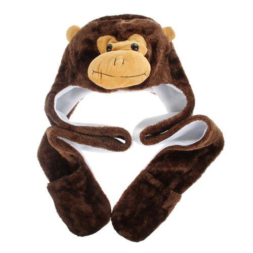 Adult Kids Fall Winter Warm Cartoon Cute Animal Beanie Soft Earmuff Hat Scarves