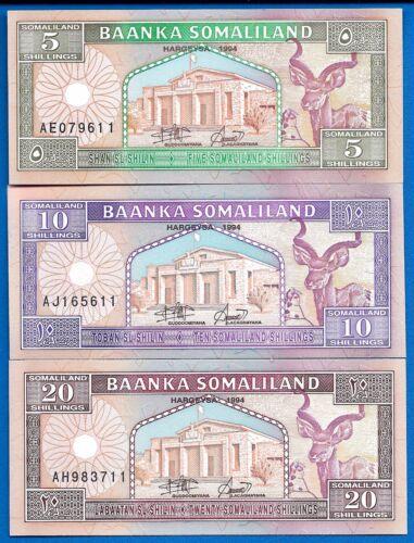 Somaliland P-1, P-2, P-3 Uncirculated Banknotes 1994 Africa Set # 1