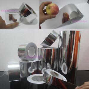 Beauty-Tape-PVC-Adhesive-Glossy-Mirror-Chrome-Vinyl-Wrap-Sticker-Silver-AB