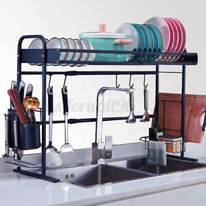 Over The Sink Dish Drying Rack Stainless Steel Kitchen Cutlery Holder Shelf USA