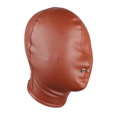 PU Leather Full Blindfold Mask Hood with Breathable Nose Holes Brown