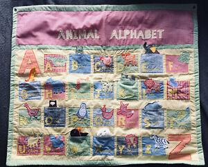 Pottery Barn Unisex Quilt Throw Mural Animal Alphabet Abcs