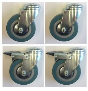 4-x-50mm-swivel-and-braked-locking-castors-Grey-rubber-bolthole-casters-RT37