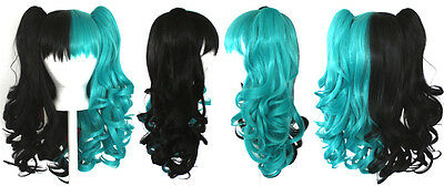 20'' Lolita Wig + 2 Pig Tails Half Black and Seafoam Green Split Gothic Sweet