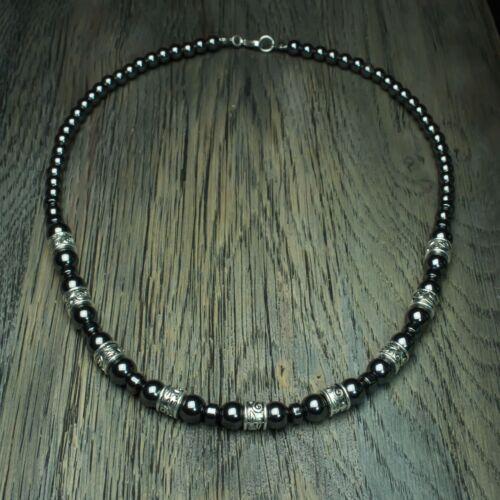 New Mode Bijoux Collier Homme perles Ø6 et Ø8mm HEMATITE Métal couleur argent