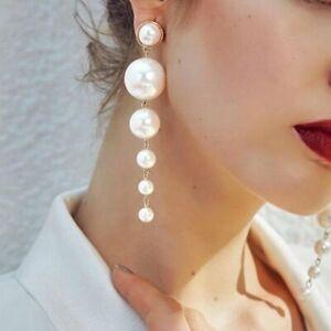 Korean-Crystal-Long-White-Pearl-Earrings-Ear-Stud-Dangle-Hook-Women-Chic-Bridal