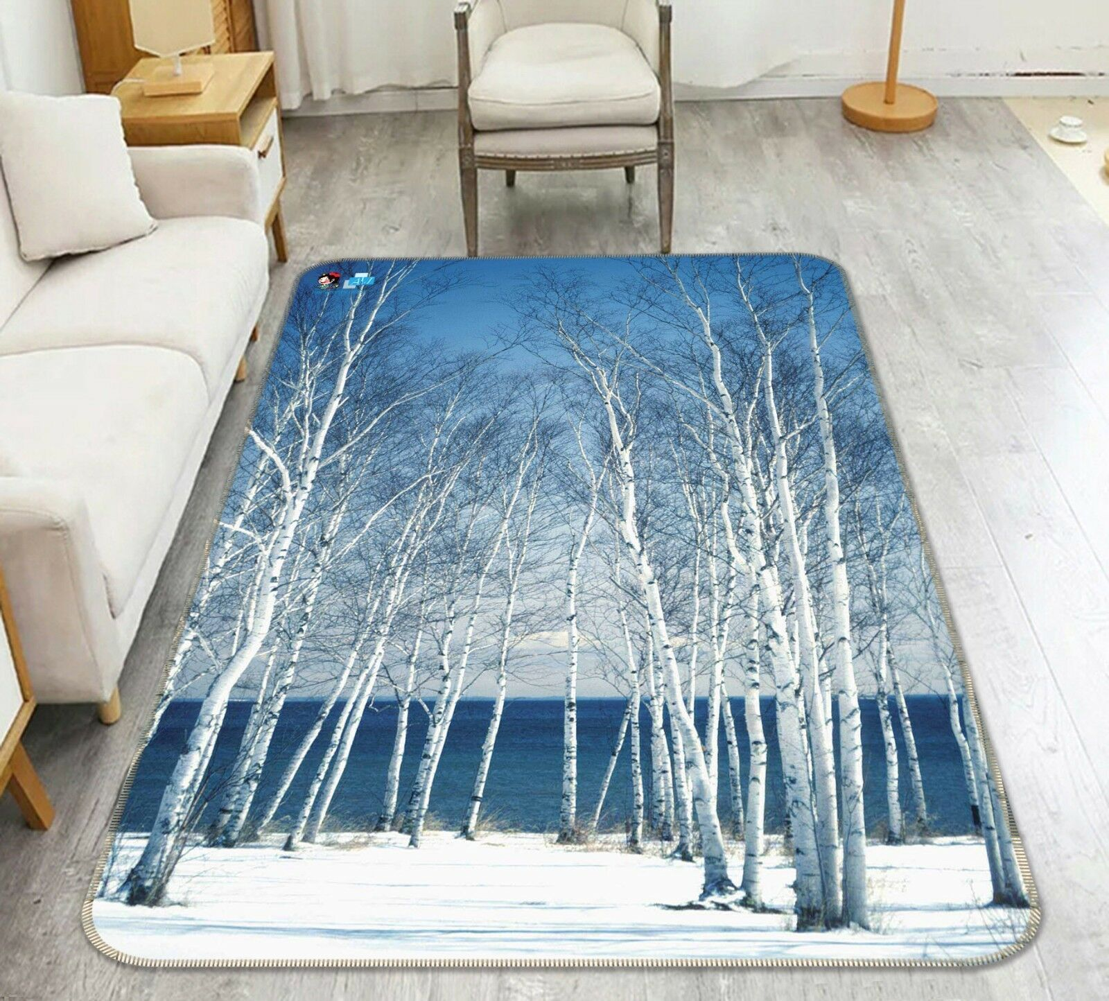 3D bianca Trees Snow 25 Non Slip Rug Mat Room Mat Quality Elegant Carpet US Cobb